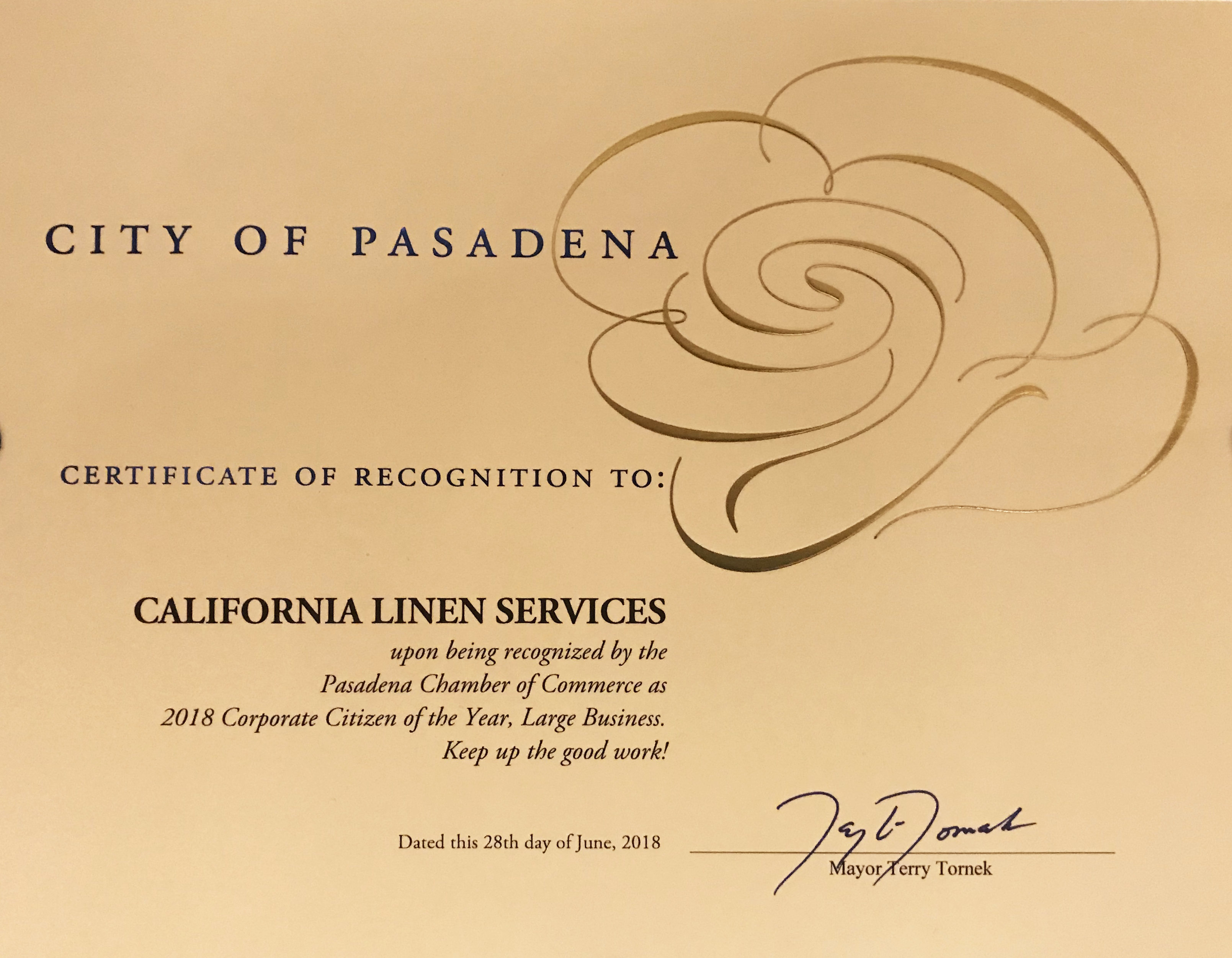 California Linen Services received the City of Pasadena's Corporate Citizen of the Year Award.